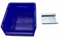 Blue storage box for tool board
