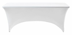 Stretch table cover for folding table – white