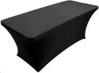 Stretch table cover for folding table – black